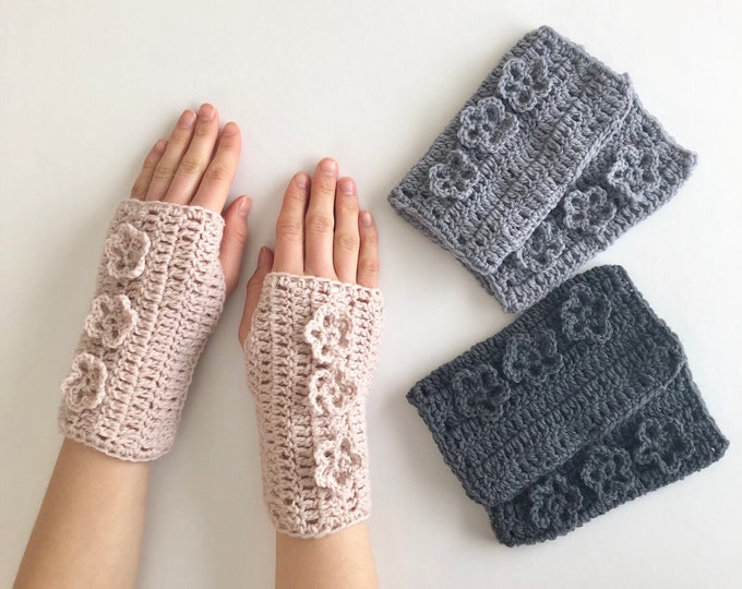 Floral Arm Warmers, hand warmers, available in blush pink, gray and dark gray, organic merino wool, Pass it Forward Collection