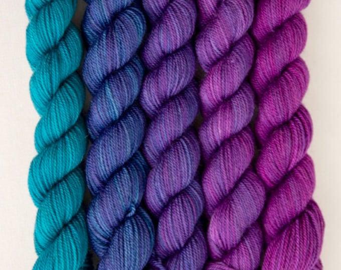 Purple blue Sock Yarn, Party of Five mini skeins, Tough Love Sock Yarn, Sweetgeorgia Yarns, Tanzanite colour way of blues, purple