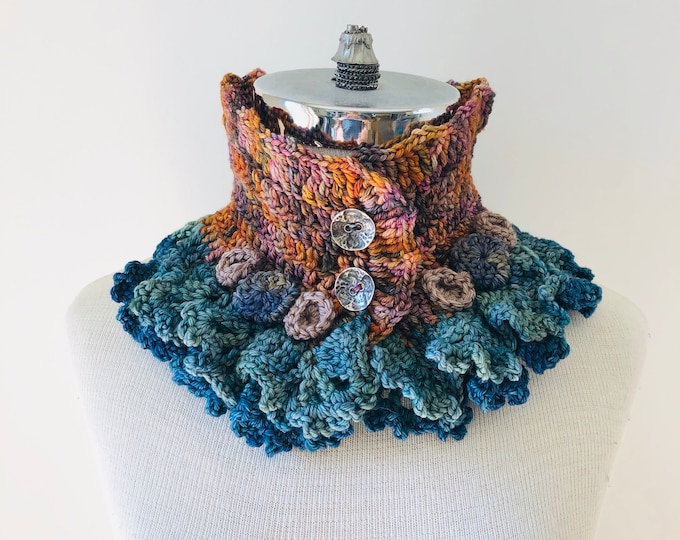 Sunset beach stone scarf, Orange, blue colour combo, Lace Scarf, READY to SHIP, merino wool, other colours, gift for her, woman's scarf