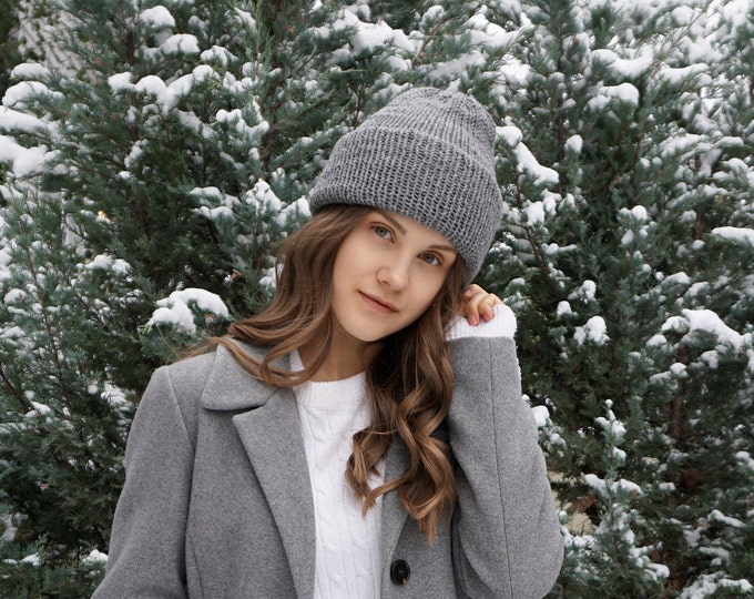 Classic Knit hat by Joyful Knits available in gray soft merino wool, classic beanie hat, toque, winter hat, merino wool hat, woman's hat