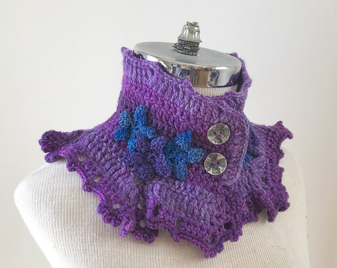 Ocean Scarf in purple with purple and blue starfish, scarf, Collar scarf, ocean scarf, starfish scarf, ready to ship, Woman's Scarf,