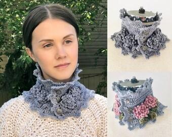 Floral Peony Neck Warmer Scarf Crochet pattern, scarf crochet pattern, floral scarf, scarf pattern, crochet pattern, floral scarf pattern
