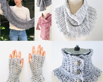 Elegant Lace Collection Crochet pattern, includes 2 Elegant Lace scarf patterns, 1 shawl and 1 Hand Warmer crochet pattern, crochet pattern