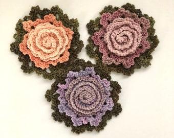 Floral Rose Brooches, Floral Brooch, merino wool, handmade, perfect to accent your wardrobe, floral brooch, shawl brooch, scarf brooch