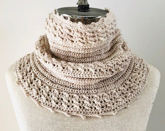 Cozy Cable Ribbed Cowl Infinity Scarf ready to wear, cable scarf, merino wool, handmade, linen colour scarf, beige cable scarf, scarf, cowl