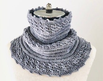 Cozy Cable Ribbed Cowl Infinity Scarf ready to wear, cable scarf, merino wool, handmade, gray scarf, gray cable scarf, scarf, cowl, scarves