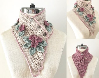 Floral Blossoms and Lace Scarf Crochet pattern, neck warmer scarf, floral scarf crochet pattern, scarf pattern, floral scarf pattern