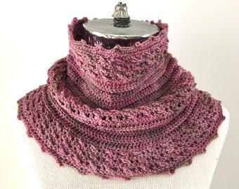 Cozy Cable Ribbed Cowl Infinity Scarf ready to wear, cable scarf, merino wool, handmade, pink scarf, pink cable scarf, scarf, cowl, scarves