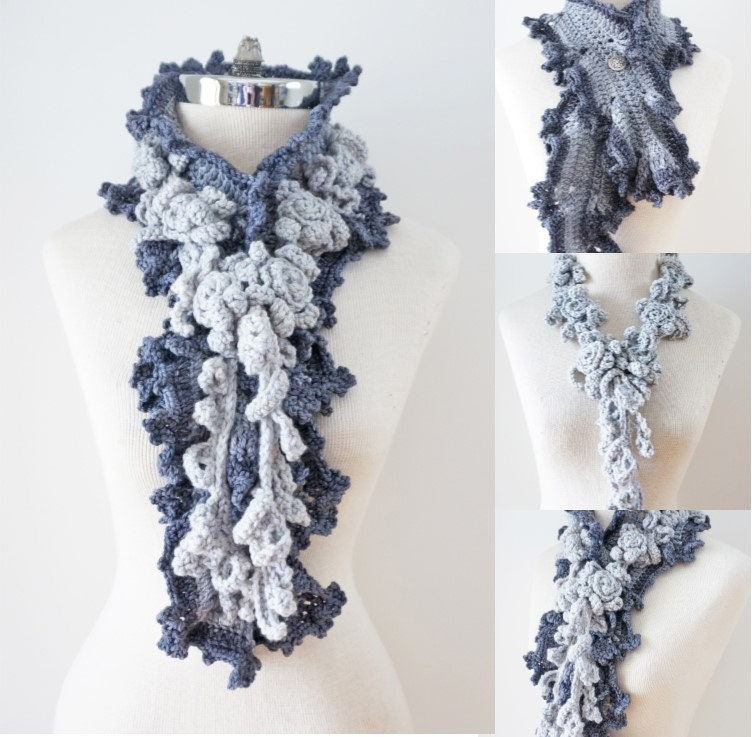 Ruffle Scarf with Rose vine Scarf, Rose scarf, long scarf handmade ...