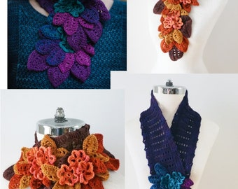 Night Garden floral crochet scarf pattern, crochet pattern, Neck warmer pattern, floral scarf pattern, floral scarf, crochet scarf pattern