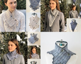 Timeless Crochet Pattern Collection, includes 4 crochet scarf patterns with a modern yet vintage touch, scarf, crochet scarf pattern,
