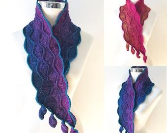 Elegant Leaves Accent Scarf Crochet pattern, accent scarf, crochet, crochet lace scarf pattern, scarf pattern, Leaf scarf pattern, scarf