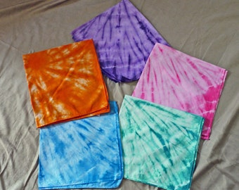 22x22 tie dyed cotton bandanas