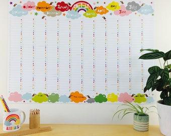 2017-2018 große akademische Regenbogen-Wandkalender, 2017 akademischen Wandkalender, Wandplaner A1, A2 Familie Wandkalender mit Rohr-Lieferung