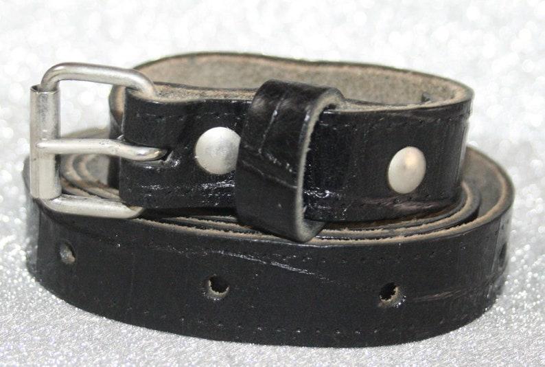 1960s -1970s Men's Clothing Narrow leather belt - Mock Croc - Large - Rocket Originals $12.59 AT vintagedancer.com