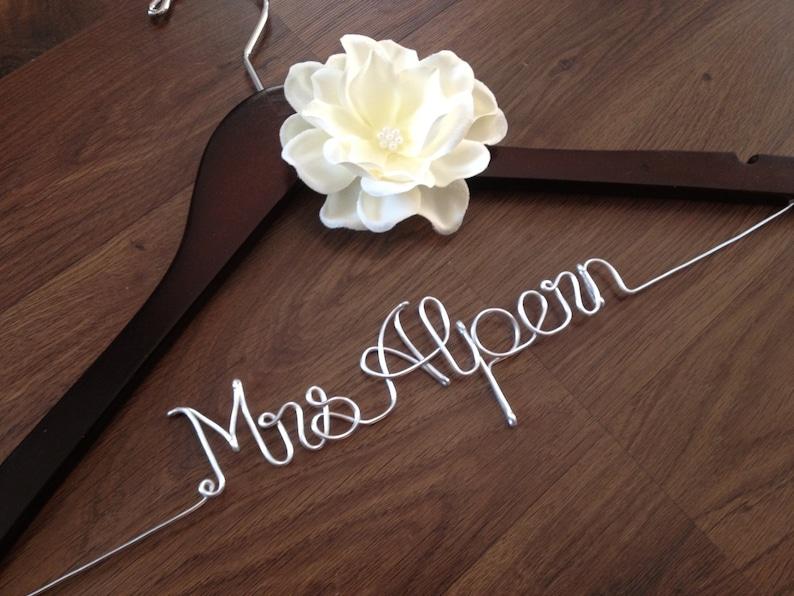 Personalized Bride Hanger Bridal Shower Gift Custom Wedding image 0