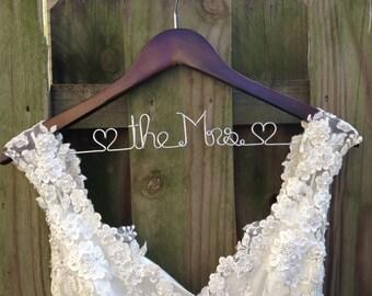 Wedding Dress Hanger Bride Hanger Last Name Hanger Mrs