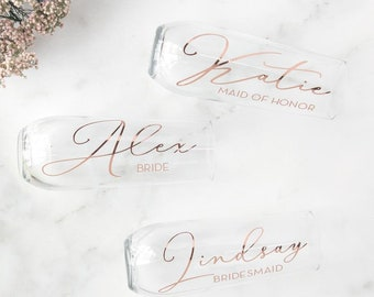 Script Bridesmaid Champagne Flutes, Personalized Gift, Bridesmaid Proposal, Bridal Party Gifts, Wedding Wine Glasses, Custom Favors Gift