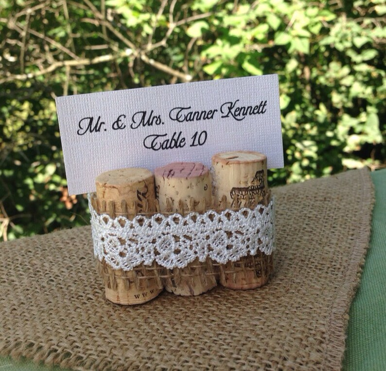 Wine Cork Table Numbers: Wine Cork And Burlap Table Number Holders