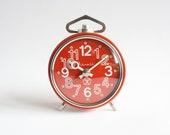 Vintage Soviet Russian Mechanical Alarm Clock Vitiaz, Red Alarm Clock