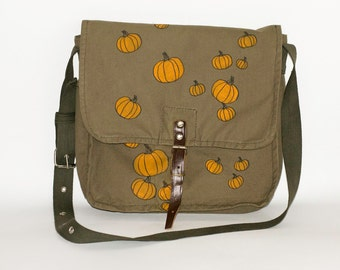 Halloween Vintage Hand Painted Military Bag Green Cotton Canvas Messenger  Bag with Pumpkins 62f4f0a1cfa0d