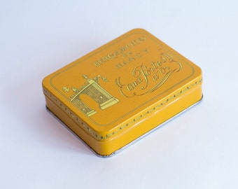 """French tin candy box from """"Bergamotes de Nancy"""", Vintage Empty Tin Box, Collectible Tin, Made in France 1960's,"""