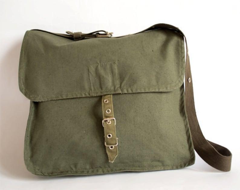 0ebafa226f07 Vintage Military Bag Army Bag Green Canvas Messenger Bag