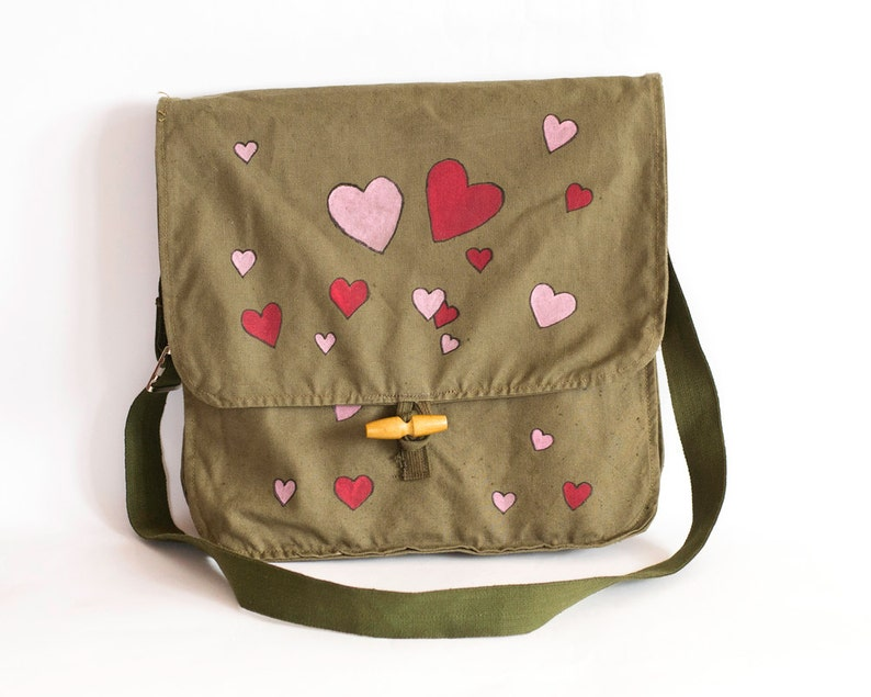 Hand-painted Army Bag Valentines Day Gift Khaki Green Cotton Canvas Messenger Bag Messenger Bag with Hearts