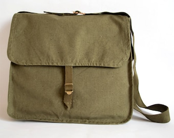 Army Bag Vintage Army Bag 1980's Military Shoulder Bag Green Canvas Messenger Bag Army Shoulder Bag Crossbody Bag