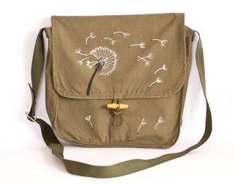 Dandelion Messenger Bag, Vintage Messenger Bag, Upcycled Army Bag, Hand Painted Canvas Messenger Bag