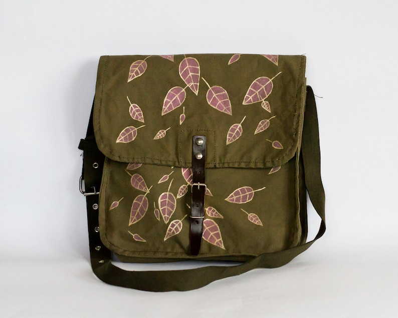 Gold Metallic Effect Pink Leaves Vintage Hand Painted Military Bag Cotton Canvas Messenger Bag