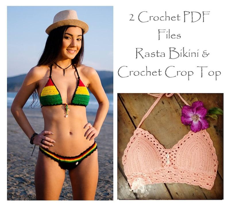 a6d8baeb03 Crochet Rasta Bikini Crop Top Pattern Crochet Bikini Pdf   Etsy