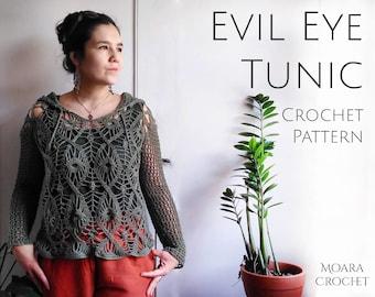 Evil Eye Crochet Tunic Pattern with optional Hood. Step by step written photo tutorial crochet PDF pattern.