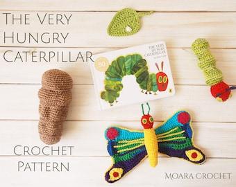 Crochet Caterpillar Life Cycle Play Set Pattern - The Very Hungry Caterpillar Amigurumi