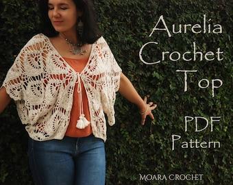 Aurelia Crochet Cardigan   Crochet Pattern   Bohemian Top   Crochet Top Pattern   Crochet Tunic Pdf   Easy Crochet Pattern   Crochet Top PDF