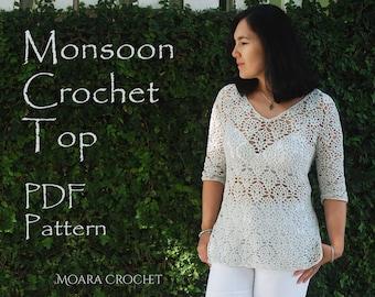 Monsoon Crochet Top   Crochet Pattern   Crochet Sweater   Crochet Top Pattern   Crochet Tunic Pdf   Crochet Boho tunic   Crochet Top PDF
