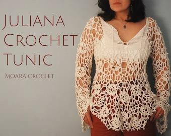Juliana Crochet Tunic Pattern - Step by step written photo tutorial crochet PDF pattern. Bohemian crochet tunic perfect for any season.