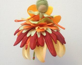 Buy Cheap Hand Made Flower Fairy Orange Rose Doll Figure Art Dolls-ooak