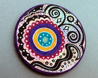 Zen Tangle Doodle Kitchen Decor Magnet Gift Under 10 Ready to Ship