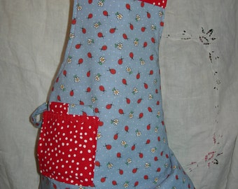 Childs reversible Apron in darling Lady Bugs kitschy cute design... Mommy's perfect little helper
