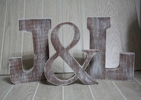 Shabby Chic Wood Letters His And Hers Wedding Decor Etsy
