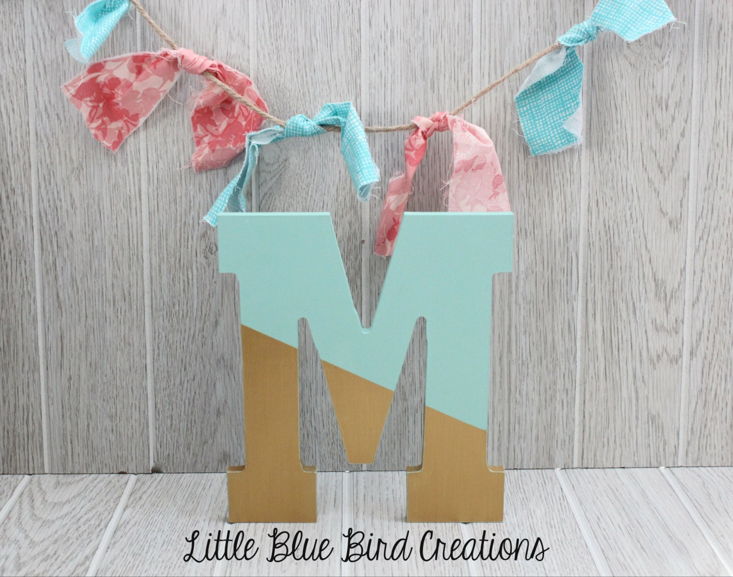 Painted Wood Letters Color Block Paint Dipped Letters Wood Decor Wooden Letters Monogram Teal And Gold