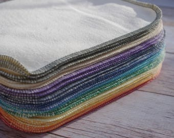 Hemp Wipes Organic Baby Wipes 12 cloth wipes Hemp Organic Cotton Fleece Reusable Wipes 8.5''x8.0'' Rainbow Wipes - you pick thread colors