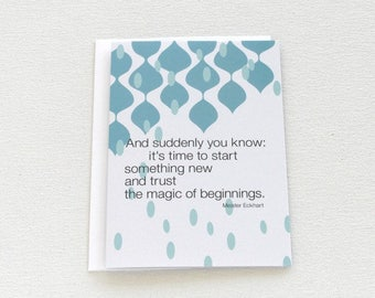 New Journey Card, New Beginnings Card, Starting Over Quote, New Start, Retirement New Job Card, Coworker Card, Thinking of You Card - 156C