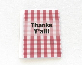 Thanks Y'All Card, Buffalo Plaid Thank You Card, Buffalo Check, Gingham Print, Picnic Party, Southern Sayings, Checkered Pattern  - 142C