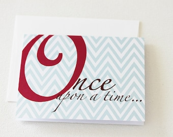 Note Card Set, Once Upon A Time Baby Shower Thank You Notes, New Baby Card, Baby Milestone Cards, Wedding Shower Thank You Cards - A2S104