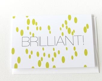 Graduation Card, Congratulations Card, Congrats Grad Card, Brilliant Good Job Card, New Job Card, Promotion Card, Thank You Card - 124C