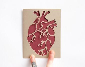 Valentine Card: Laser cut Anatomical Heart Card--Gold and Burgundy--Custom Message