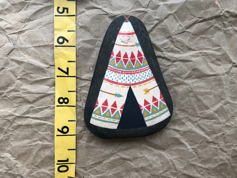 find your tribe Large Hand Painted Rock: Teepee painting nursery decor bohemian decor home decor