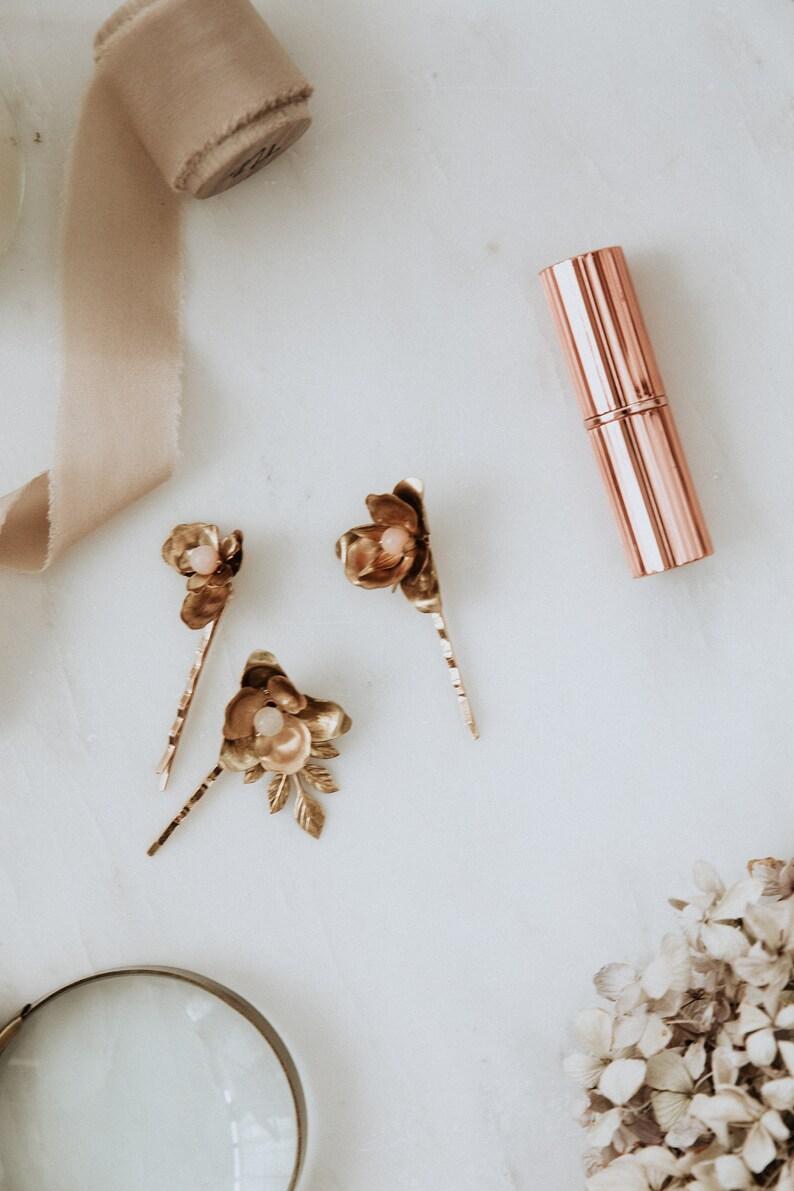 Bridal hair pins set of 3 brass floral gemstone hair pins